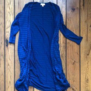 LulaRoe Long Striped Cardigan w Pockets, XS